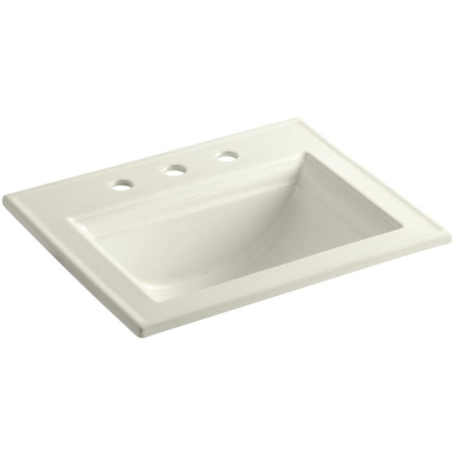 KOHLER Memoirs Biscuit Drop-In Rectangular Bathroom Sink with Overflow