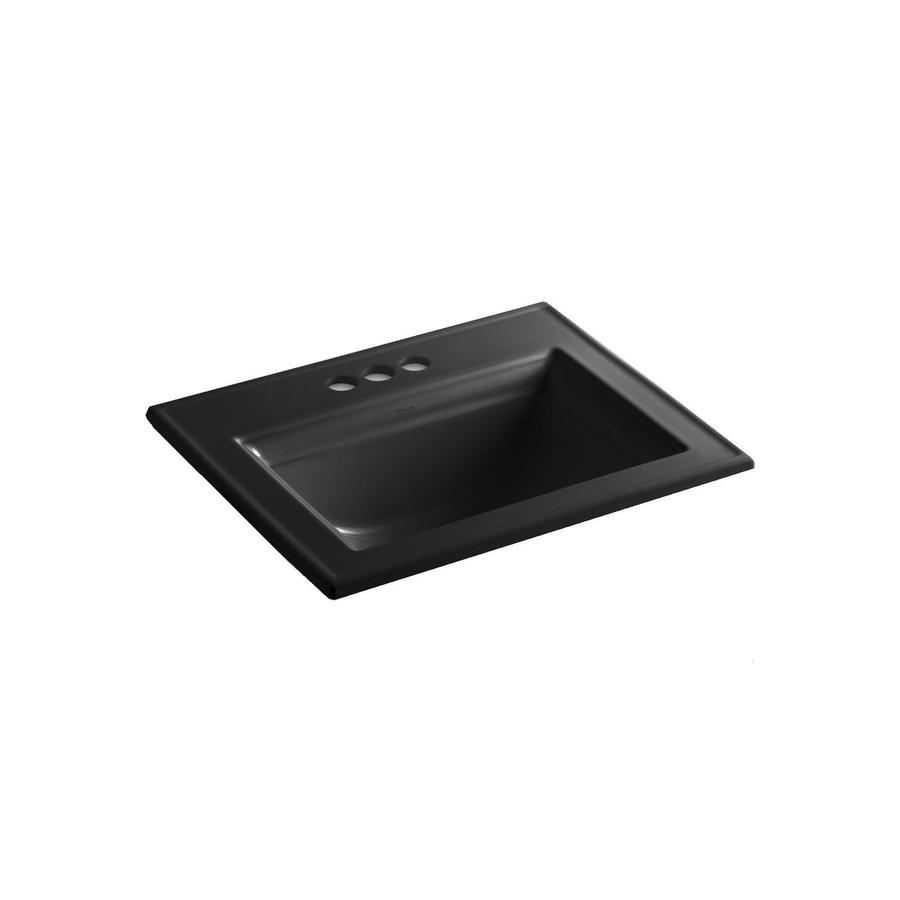 KOHLER Memoirs Black Drop-in Rectangular Bathroom Sink with Overflow