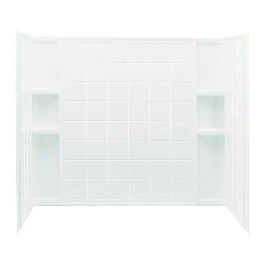 Sterling Ensemble White Vikrell Bathtub Wall Surround (Common: 60-in x 34-in; Actual: 55.25-in x 60-in x 33.25-in)