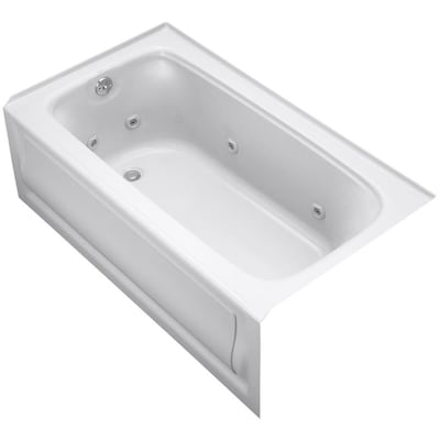 Kohler Bancroft 60 In White Acrylic Rectangular Left Hand