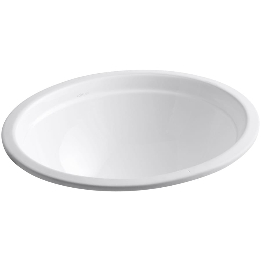 Shop kohler bancroft white undermount round bathroom sink for Bathroom undermount sinks