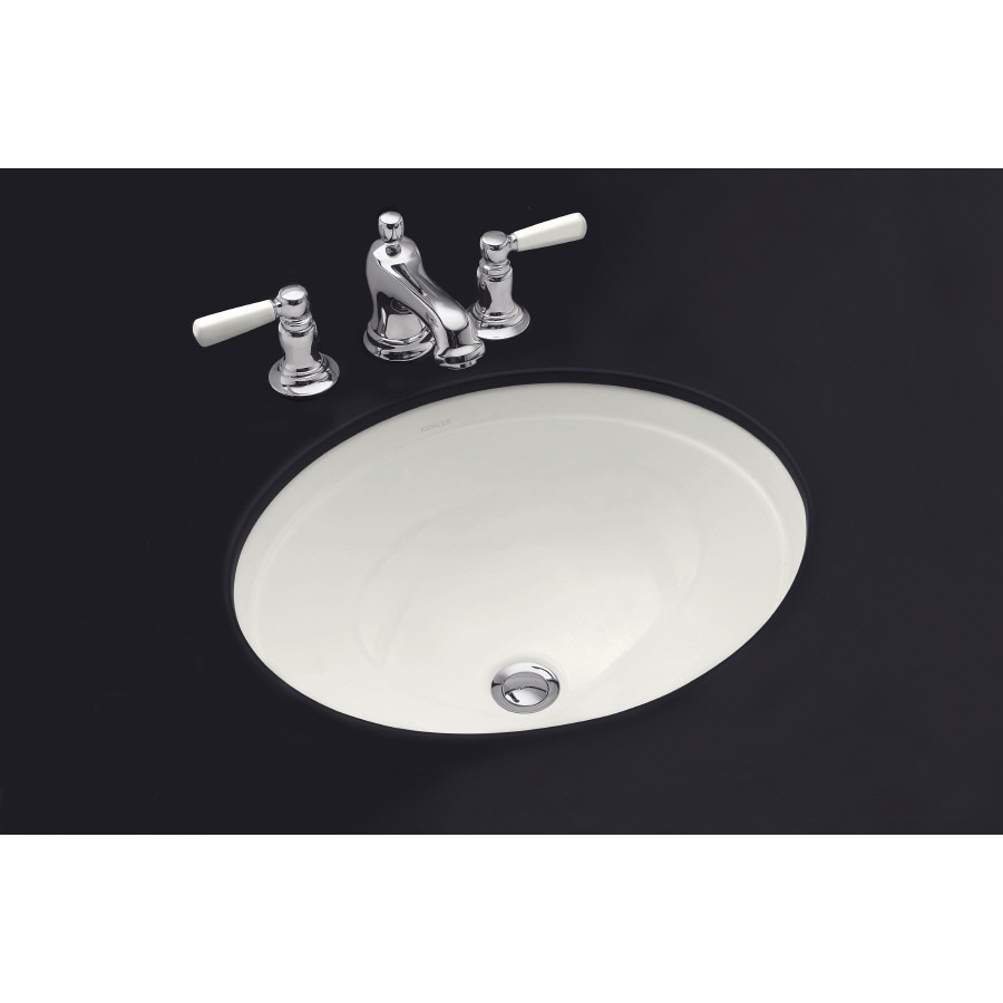 Shop Kohler Bancroft Almond Undermount Round Bathroom Sink With Overflow At