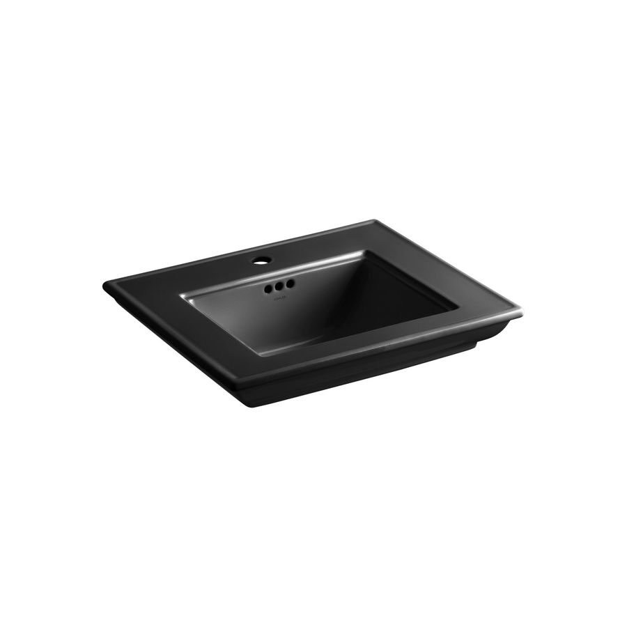 KOHLER Memoirs 24.5-in L x 20.5-in W Black Black Fire Clay Rectangular Pedestal Sink Top
