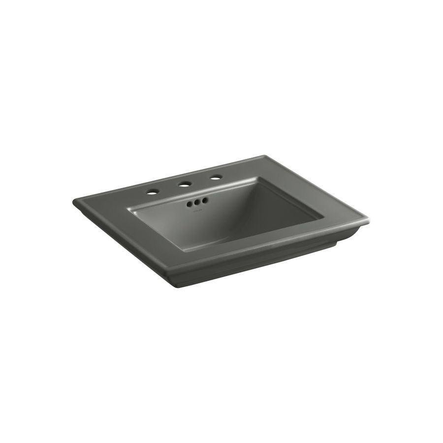 KOHLER Memoirs 24.5-in L x 20.5-in W Thunder Grey Fire Clay Rectangular Pedestal Sink Top