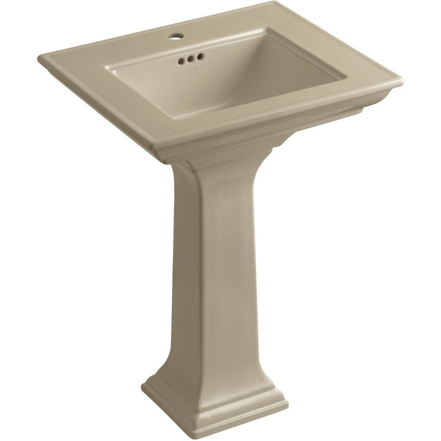 KOHLER Memoirs 34.75-in H Mexican Sand Fire Clay Pedestal Sink