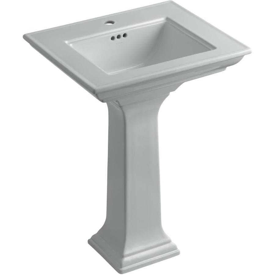 KOHLER Memoirs 34.75-in H Ice Grey Fire Clay Pedestal Sink