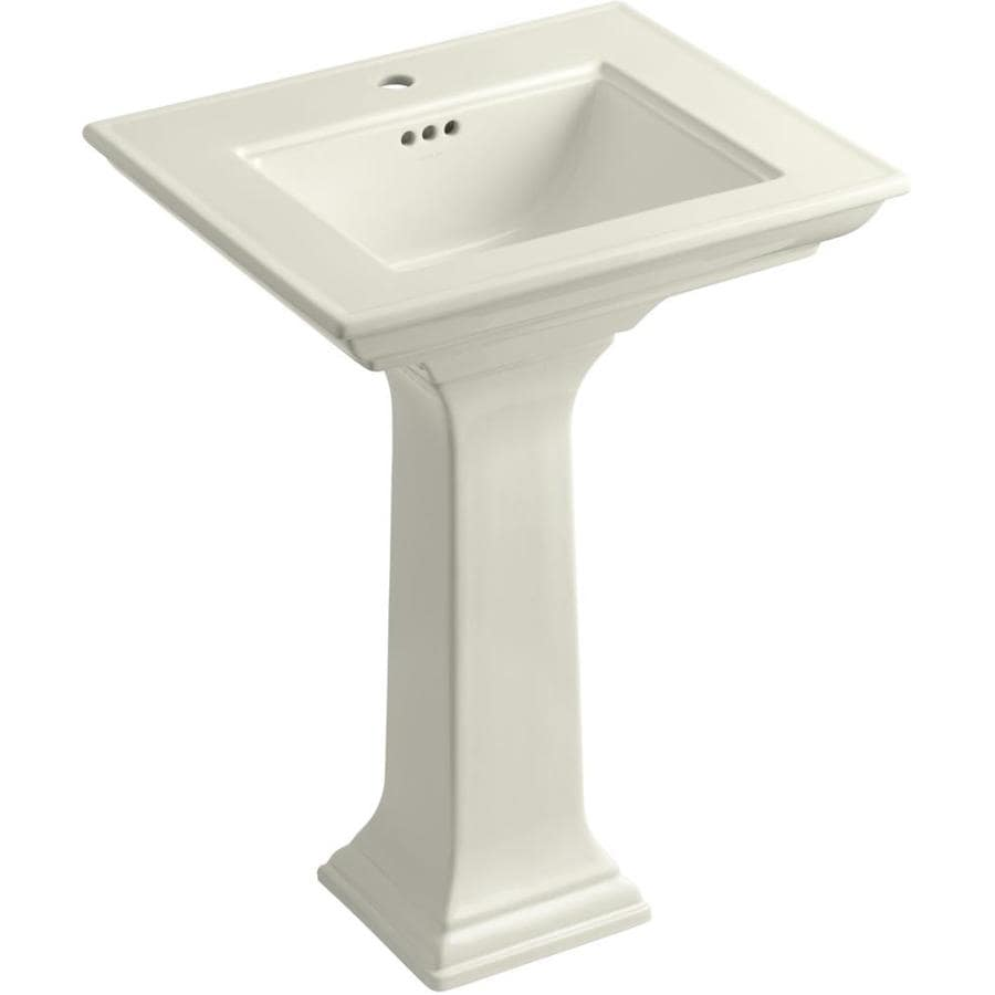 KOHLER Memoirs 34.75-in H Biscuit Fire Clay Pedestal Sink
