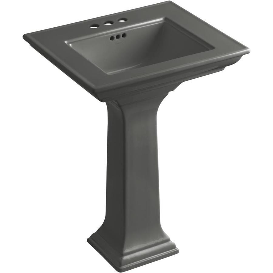 KOHLER Memoirs 34.75-in H Thunder Grey Fire Clay Pedestal Sink