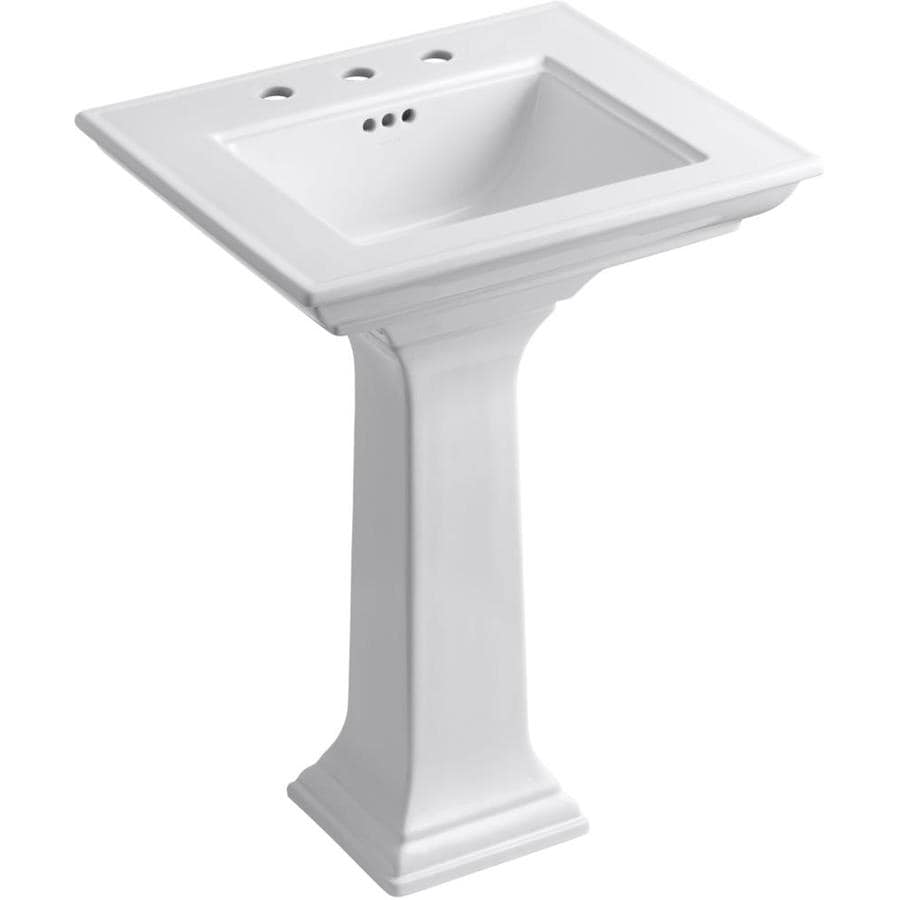 KOHLER Memoirs 34.75-in H White Fire Clay Pedestal Sink