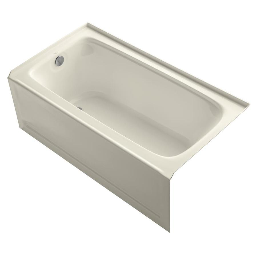 KOHLER Bancroft Almond Acrylic Rectangular Alcove Bathtub with Left-Hand Drain (Common: 32-in x 60-in; Actual: 20-in x 32-in x 60-in)