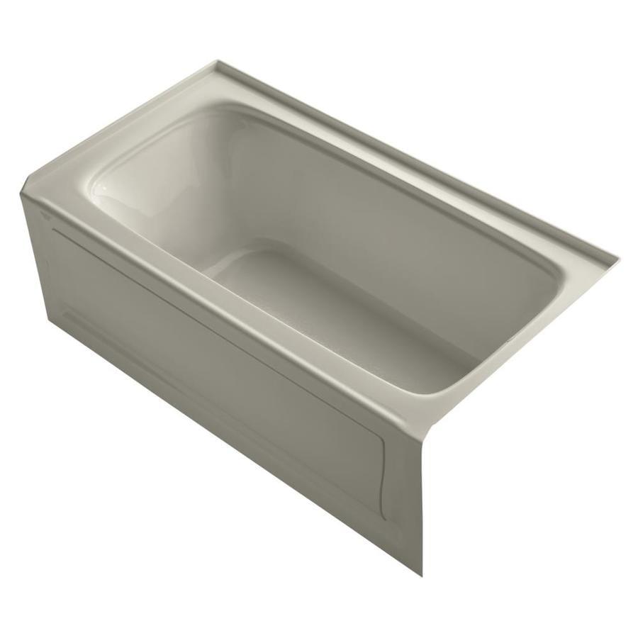 KOHLER Bancroft Sandbar Acrylic Rectangular Alcove Bathtub with Right-Hand Drain (Common: 32-in x 60-in; Actual: 20-in x 32-in x 60-in)