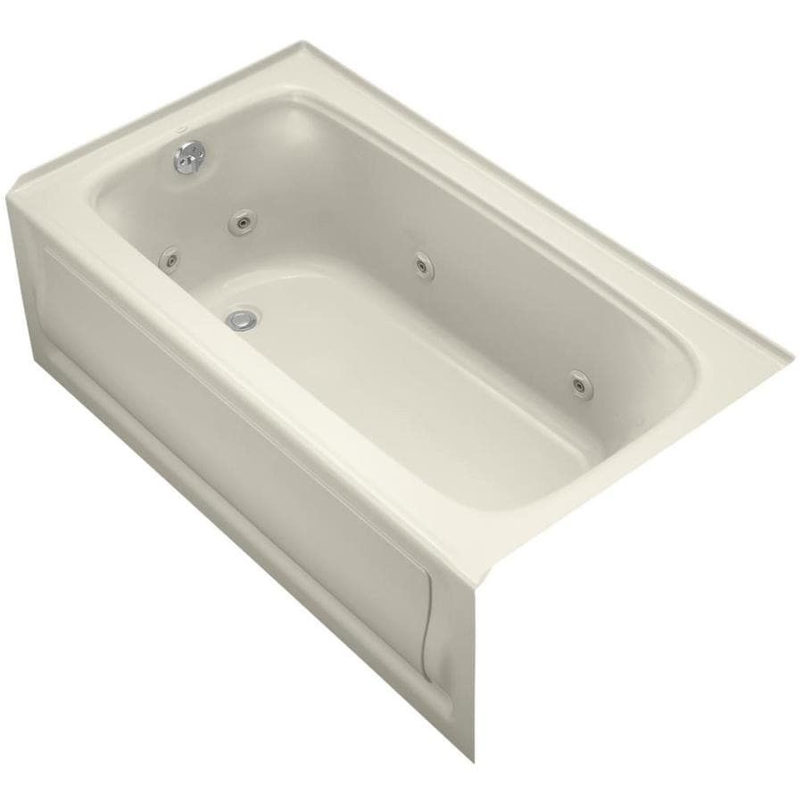 KOHLER Bancroft 60-in Almond Acrylic Alcove Whirlpool Tub with Left-Hand Drain