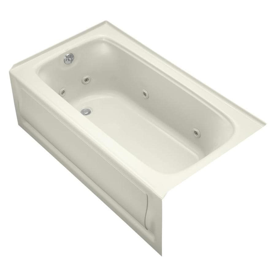 KOHLER Bancroft 60-in Biscuit Acrylic Alcove Whirlpool Tub with Left-Hand Drain