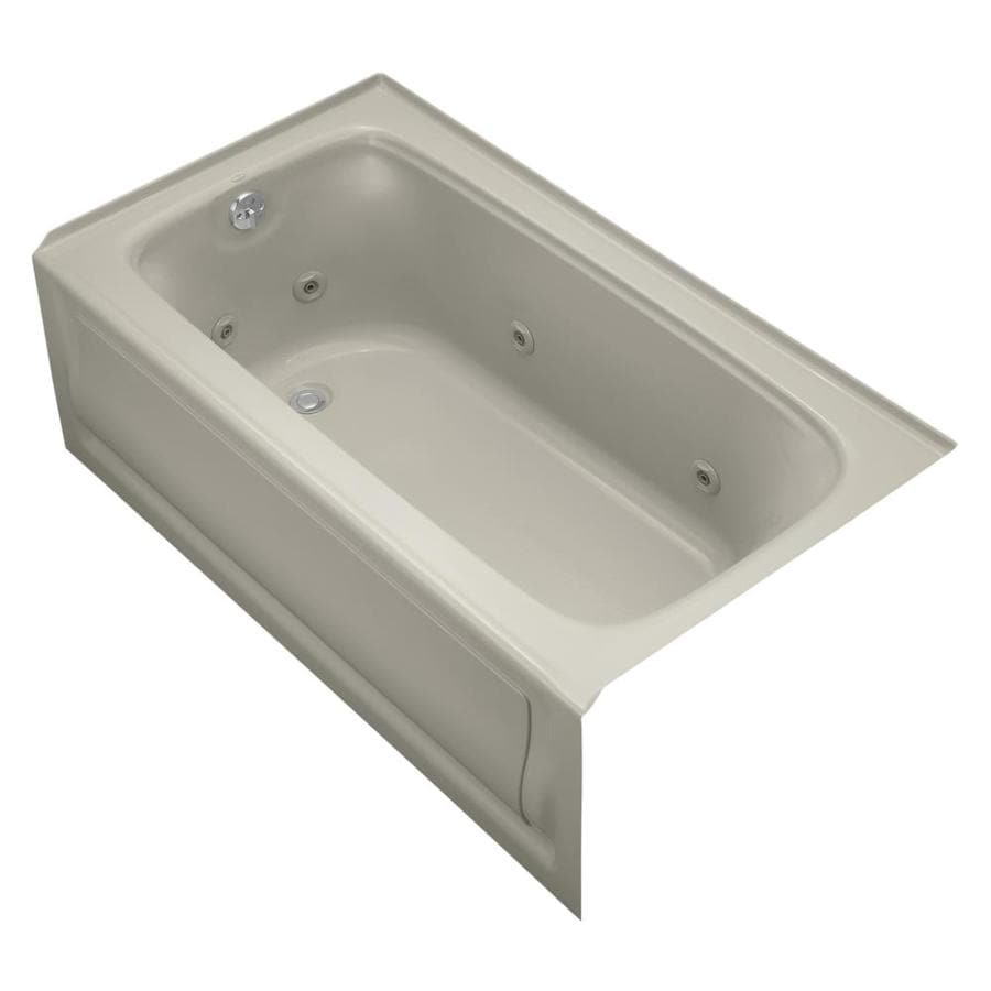KOHLER Bancroft 60-in Sandbar Acrylic Alcove Whirlpool Tub with Left-Hand Drain