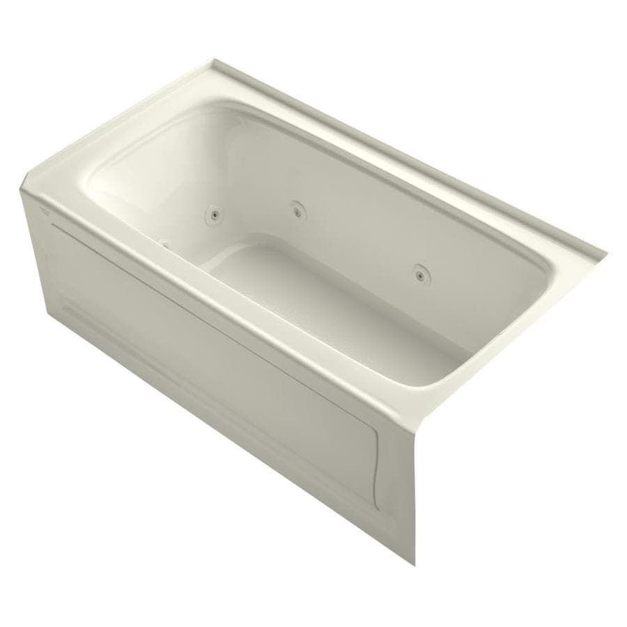 KOHLER Bancroft Biscuit Acrylic Rectangular Whirlpool Tub (Common: 32-in x 60-in; Actual: 20-in x 32-in x 60-in)