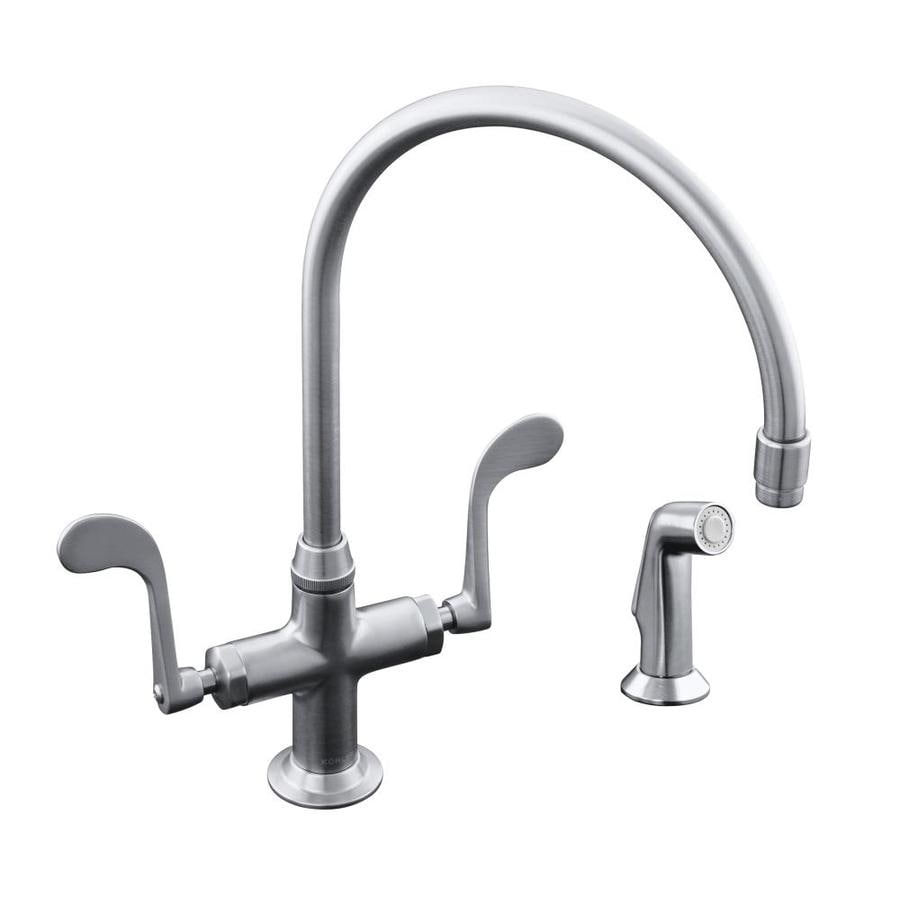 KOHLER Essex Vibrant Stainless 2-Handle High-Arc Kitchen Faucet with Side Spray