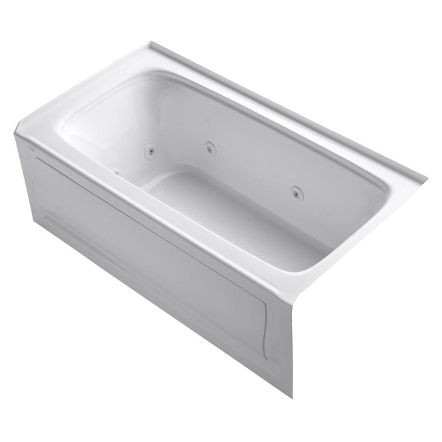 KOHLER Bancroft 60-in White Acrylic Alcove Whirlpool Tub with Right-Hand Drain