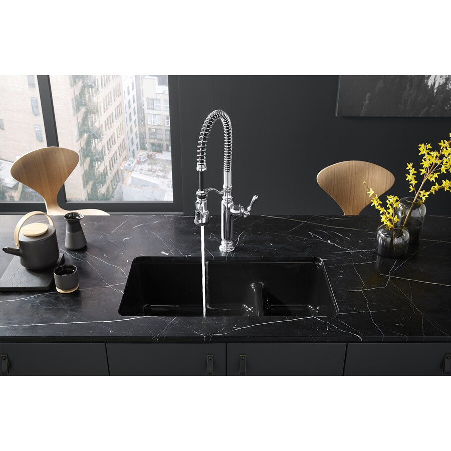 Shop KOHLER Iron/Tones 18.75-in x 33-in Black Double-Basin Cast Iron ...