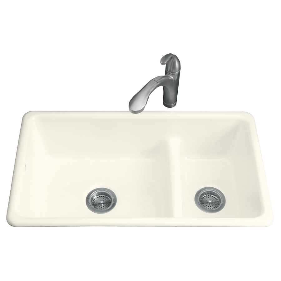 KOHLER Iron/Tones 18.75-in x 33-in Biscuit Double-Basin Cast Iron Drop-in or Undermount Residential Kitchen Sink