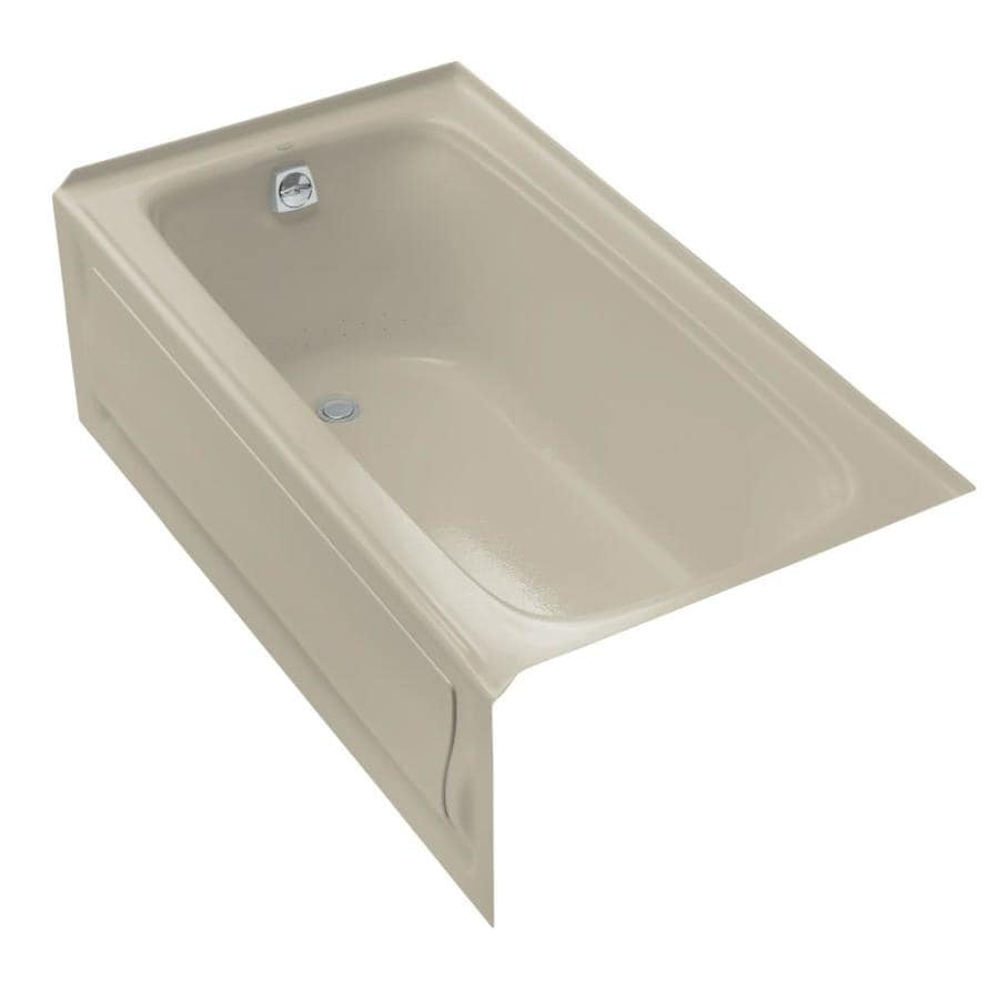KOHLER Bancroft 60-in Sandbar Acrylic Alcove Air Bath with Left-Hand Drain