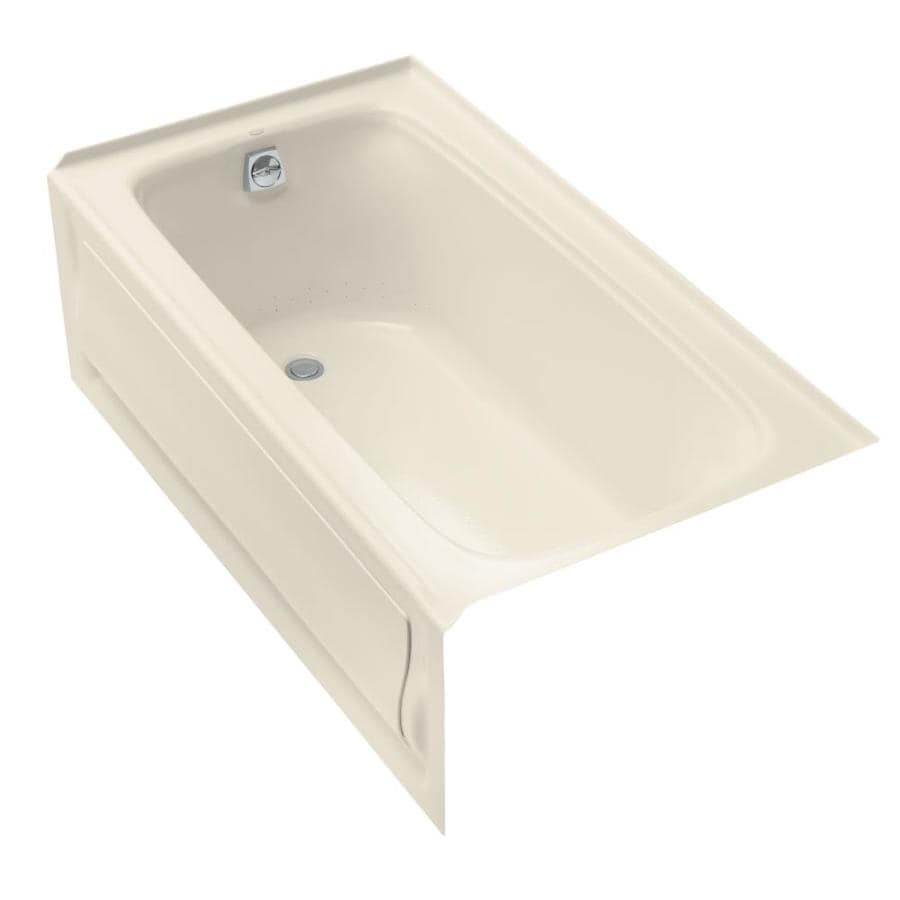 KOHLER Bancroft 60-in Almond Acrylic Alcove Air Bath with Right-Hand Drain