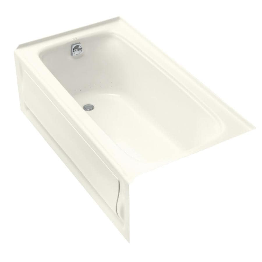 KOHLER Bancroft 60-in Biscuit Acrylic Skirted Air Bath with Right-Hand Drain