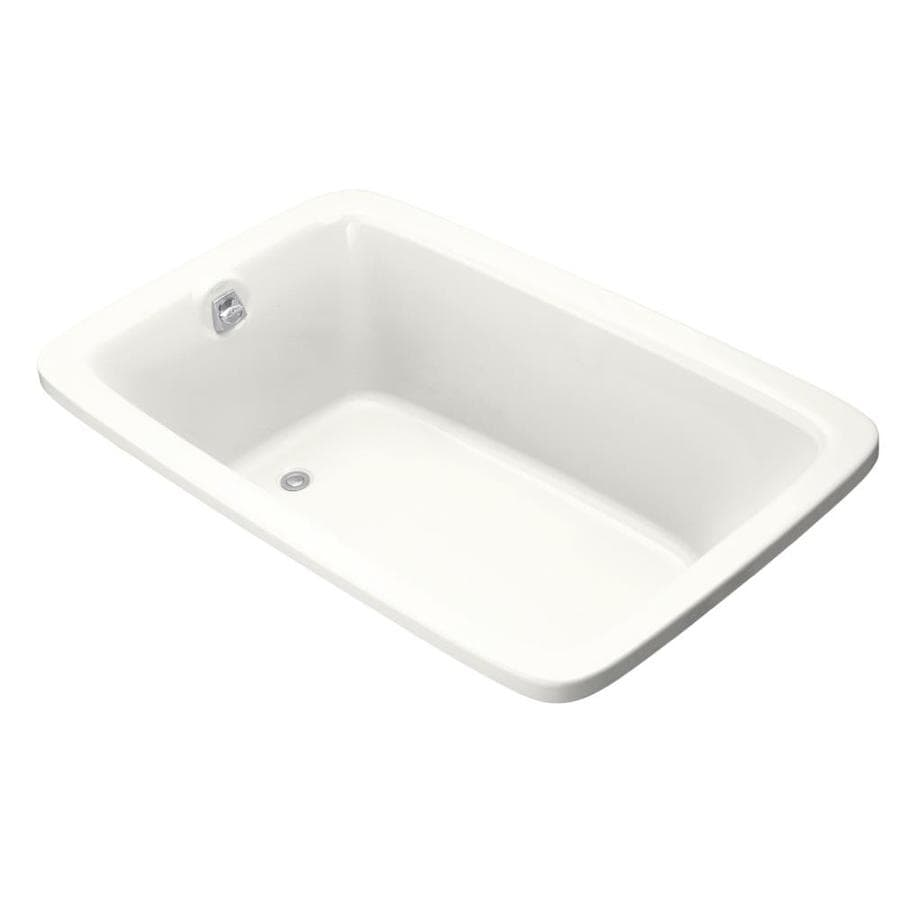 KOHLER Bancroft White Acrylic Rectangular Drop-in Bathtub with Reversible Drain (Common: 42-in x 66-in; Actual: 22-in x 42-in x 66-in)