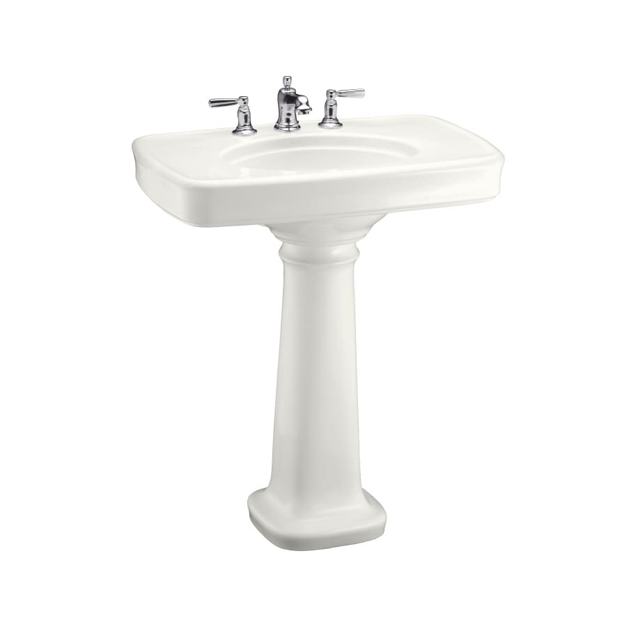 KOHLER Bancroft 35.25-in H White Fire Clay Pedestal Sink