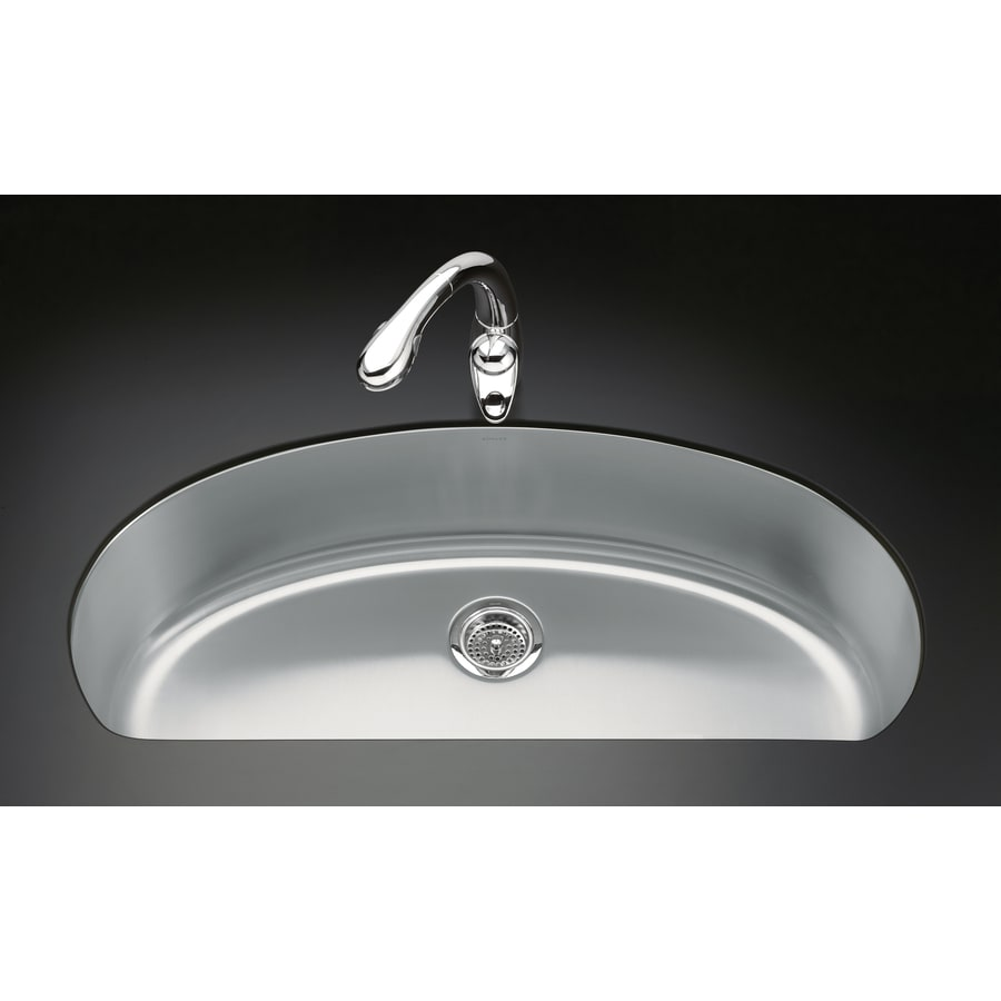 KOHLER Undertone 18.5-in x 37.5-in Stainless Steel Single-Basin Undermount Residential Kitchen Sink