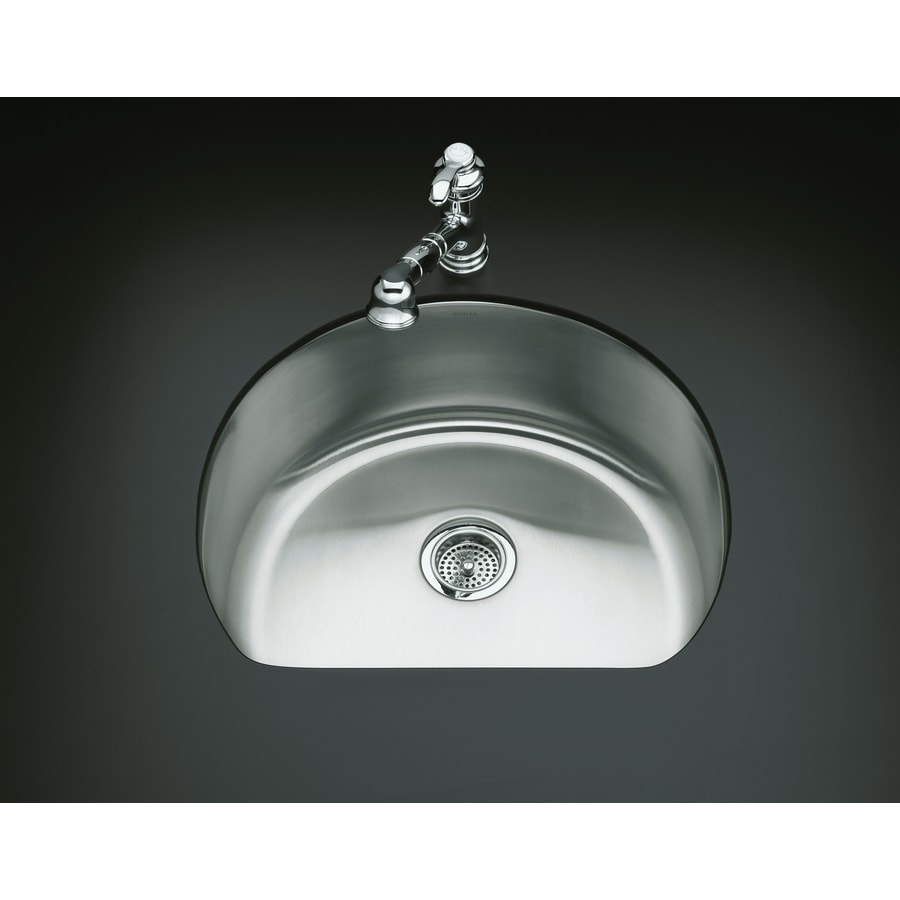 KOHLER Undertone 21.25-in x 24.25-in Stainless Steel Single-Basin-Basin Stainless Steel Undermount (Customizable)-Hole Residential Kitchen Sink