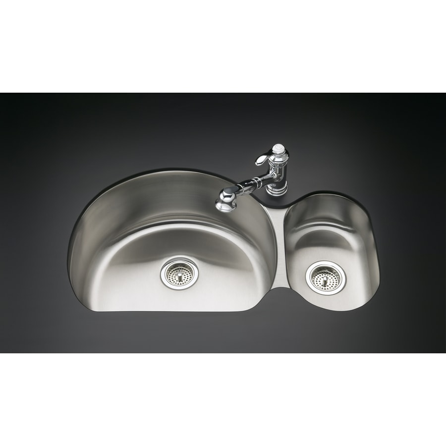 KOHLER Undertone 21.25-in x 34.75-in Stainless Steel Double-Basin Stainless Steel Undermount Residential Kitchen Sink
