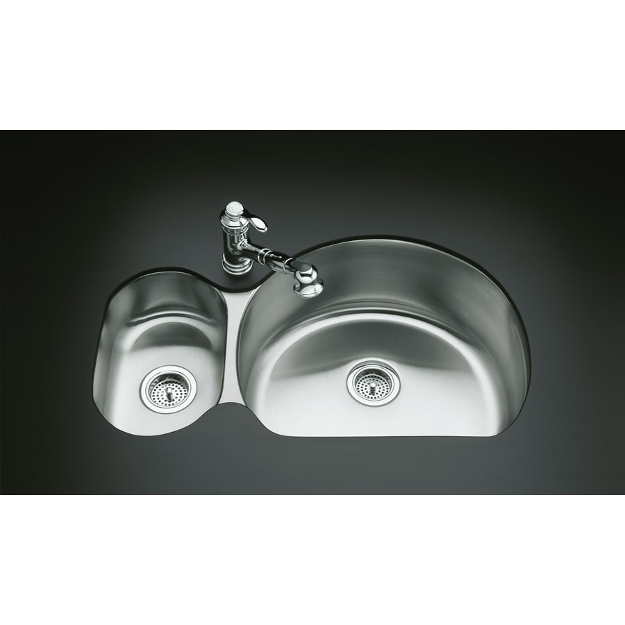 KOHLER Undertone 21.25-in x 34.75-in Stainless Steel Single-Basin-Basin Stainless Steel Undermount (Customizable)-Hole Residential Kitchen Sink