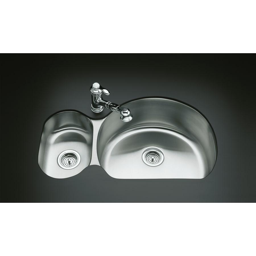 KOHLER Undertone 21.25-in x 34.75-in Stainless Steel Double-Basin Undermount Residential Kitchen Sink