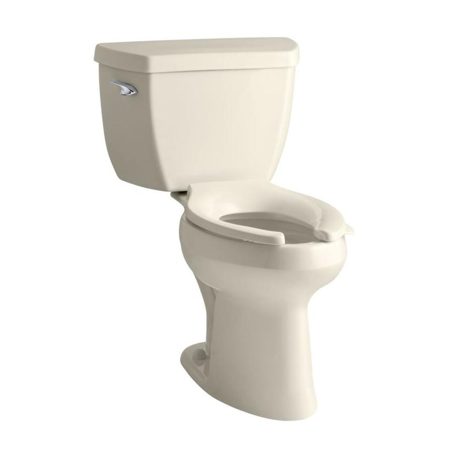 KOHLER Highline Classic 1.6 Almond Elongated Chair Height 2-Piece Toilet