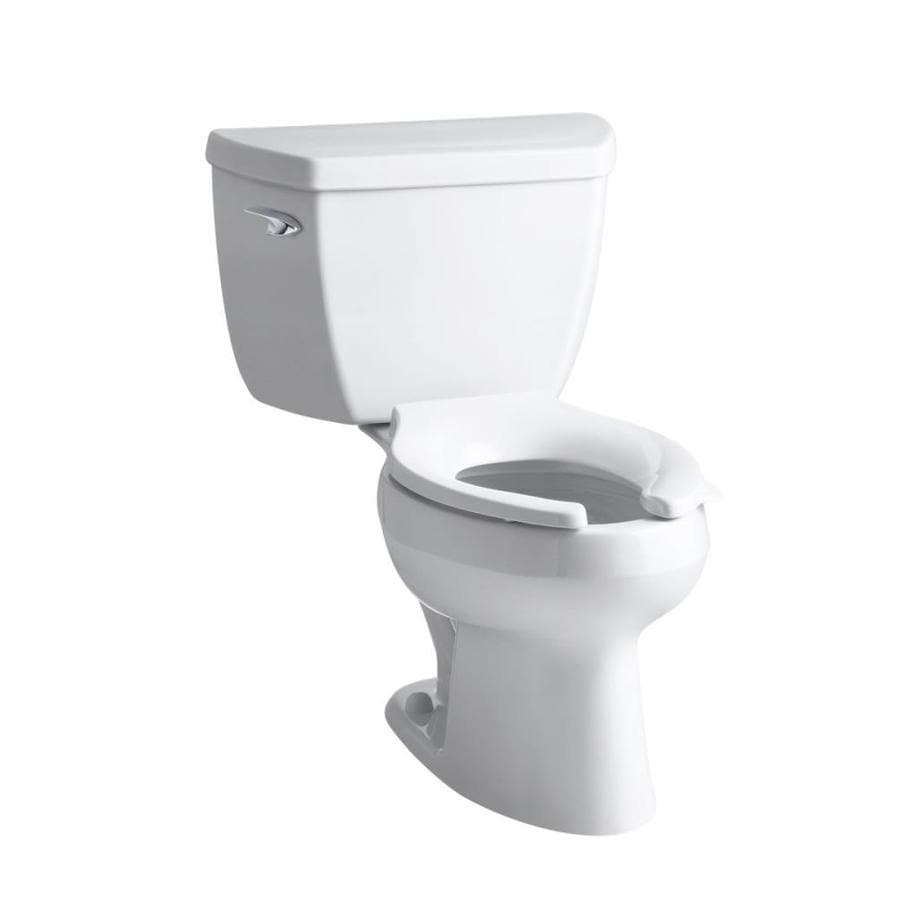 KOHLER Wellworth 1.6-GPF White Elongated Standard Height 2-Piece Toilet