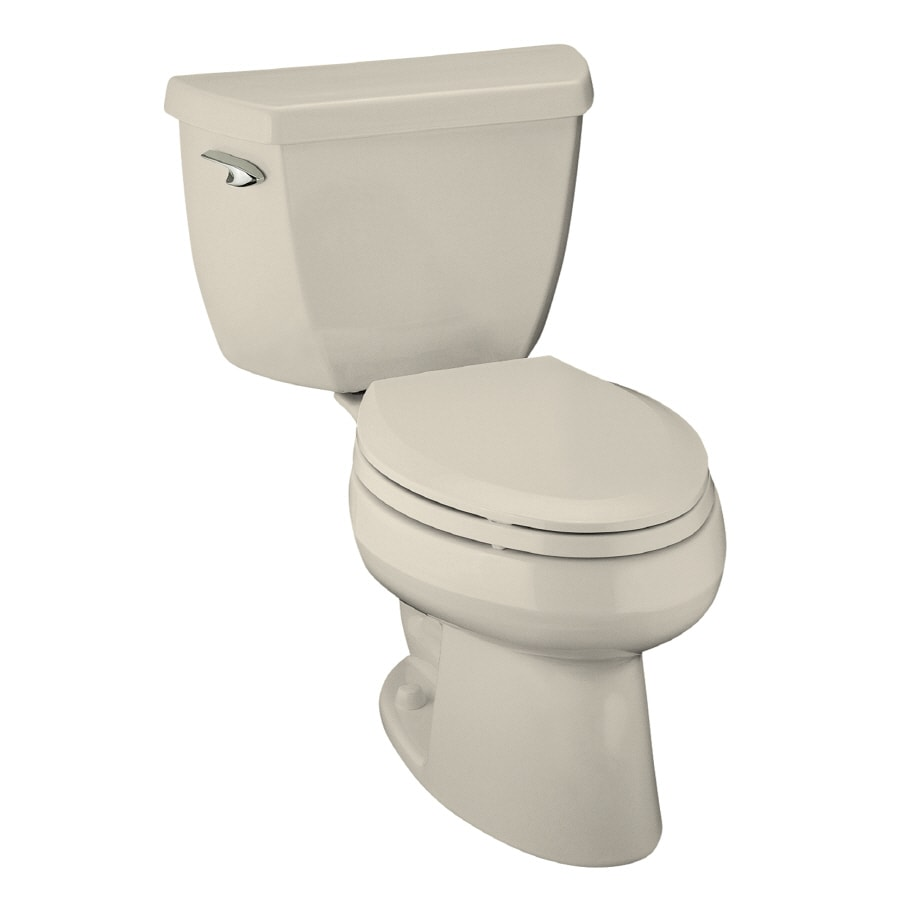 KOHLER Wellworth 1.6-GPF Almond Elongated Standard Height 2-Piece Toilet