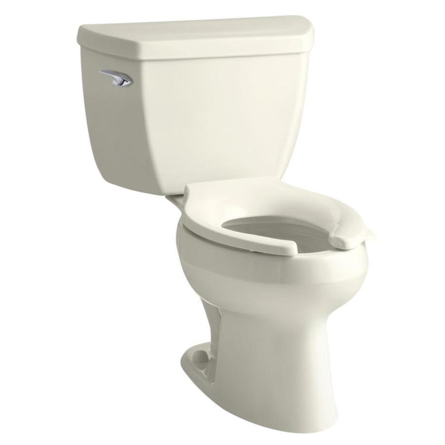 KOHLER Wellworth Biscuit  Elongated Standard Height 2-piece Toilet 12-in Rough-In Size