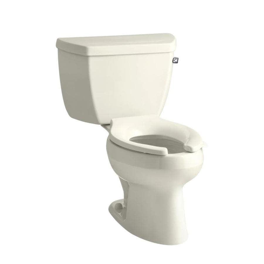 KOHLER Wellworth 1.6-GPF Biscuit Elongated Standard Height 2-Piece Toilet