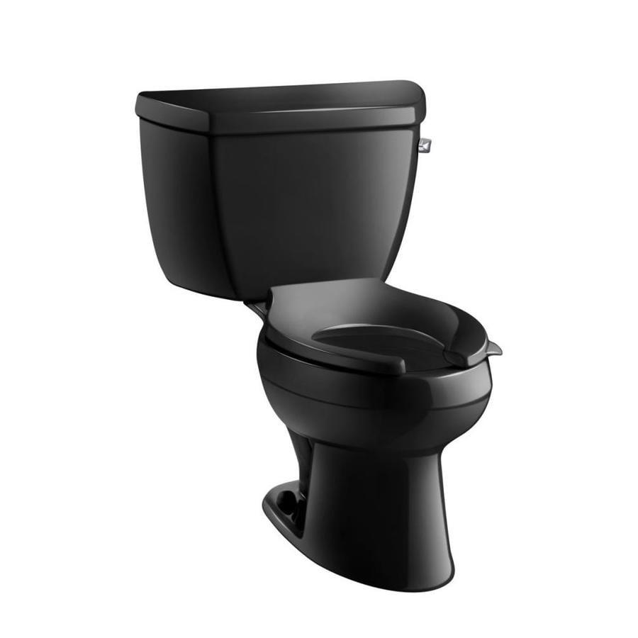 shop kohler wellworth black black elongated standard height 2 piece toilet 12 in rough in size. Black Bedroom Furniture Sets. Home Design Ideas
