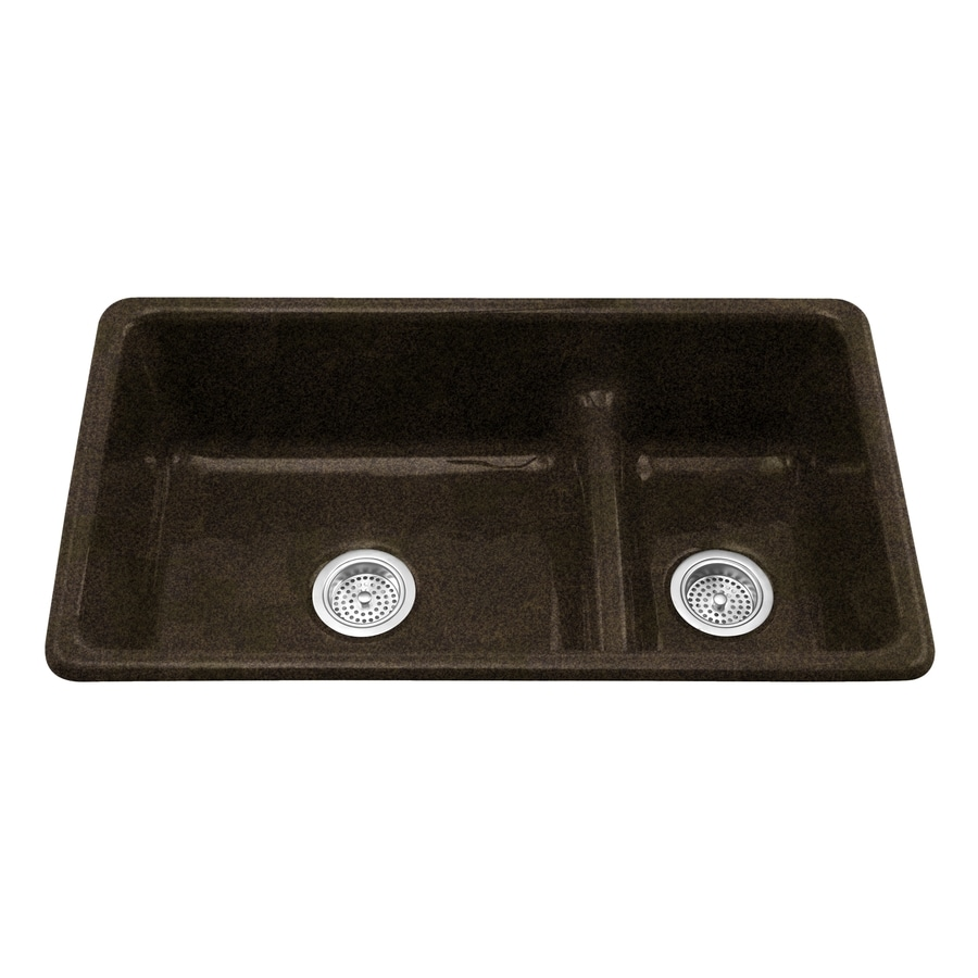 KOHLER Iron/Tones 18.75-in x 33-in Black'N Tan Double-Basin Cast Iron Drop-in or Undermount Residential Kitchen Sink