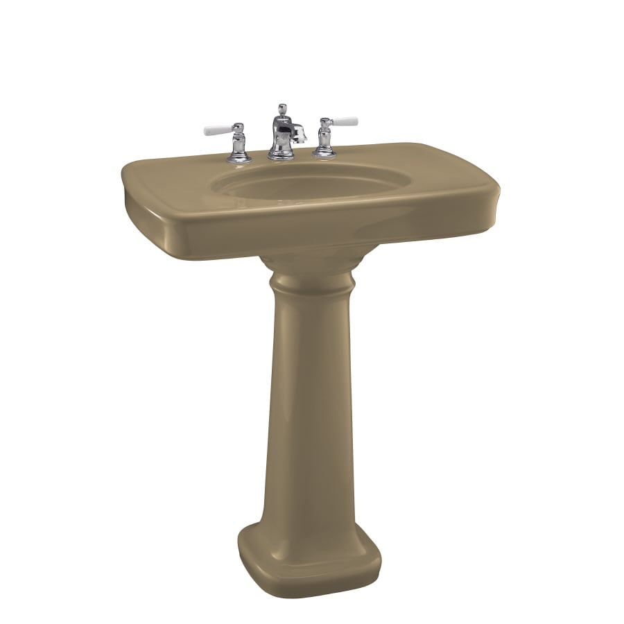 KOHLER Bancroft 35.25-in H Mexican Sand Fire Clay Pedestal Sink