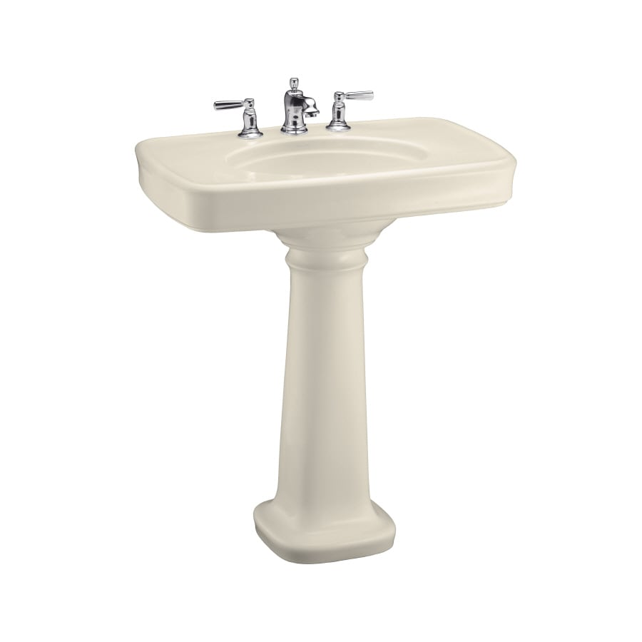 KOHLER Bancroft 35.25-in H Almond Fire Clay Pedestal Sink