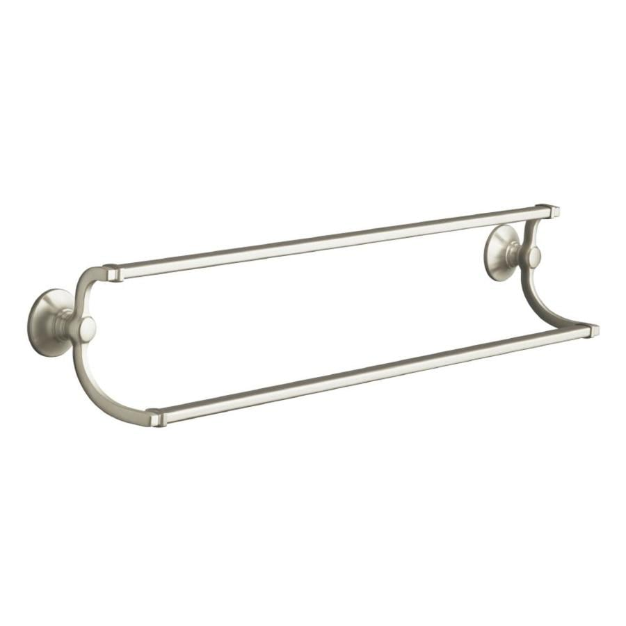 kohler bancroft vibrant brushed nickel double towel bar common 24 in