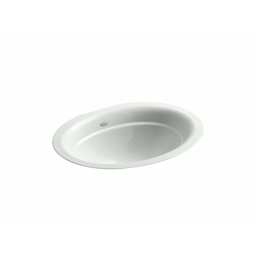 Shop Kohler Serif Sea Salt Cast Iron Undermount Oval Bathroom Sink At
