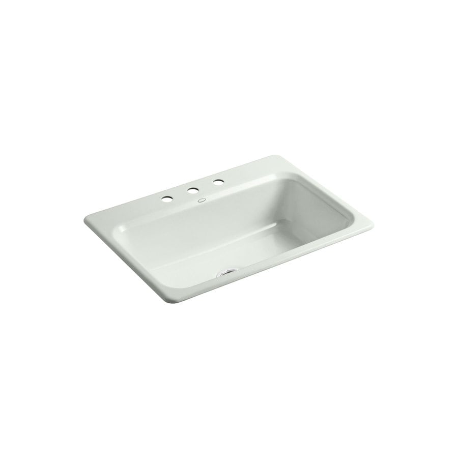 KOHLER Bakersfield 22-in x 31-in Sea Salt Single-Basin Cast Iron Drop-in 3-Hole Residential Kitchen Sink