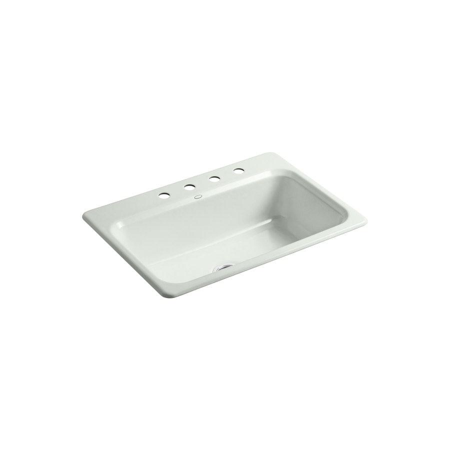 KOHLER Bakersfield 22-in x 31-in Sea Salt Single-Basin Cast Iron Drop-in 4-Hole Residential Kitchen Sink