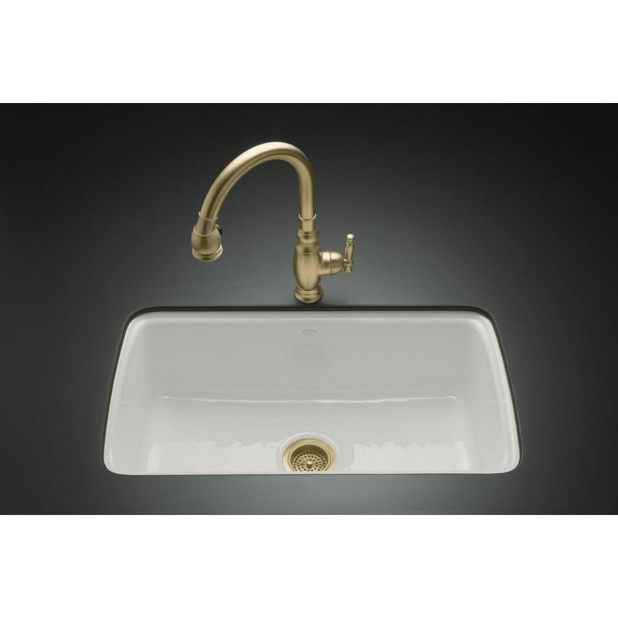 KOHLER Cape Dory 22-in x 33-in Sea Salt Single-Basin Cast Iron Undermount 5-Hole Residential Kitchen Sink