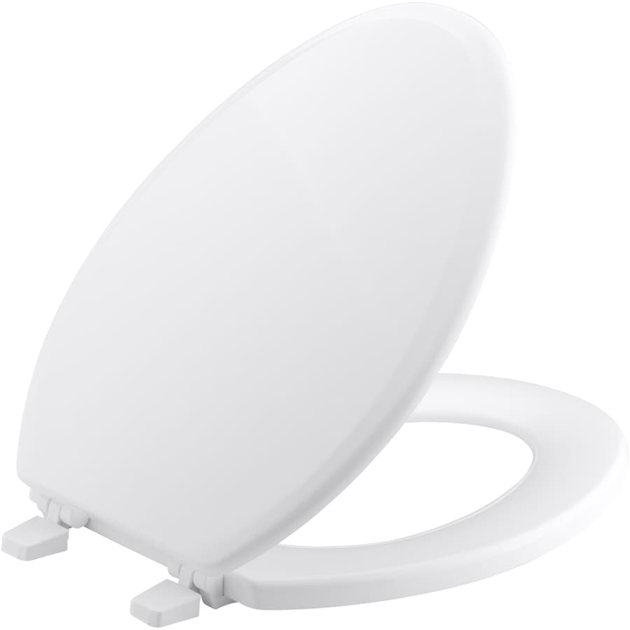 KOHLER Ridgewood White Wood Elongated Toilet Seat