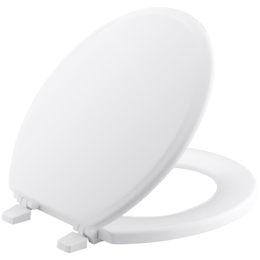 KOHLER Ridgewood White Wood Round Toilet Seat