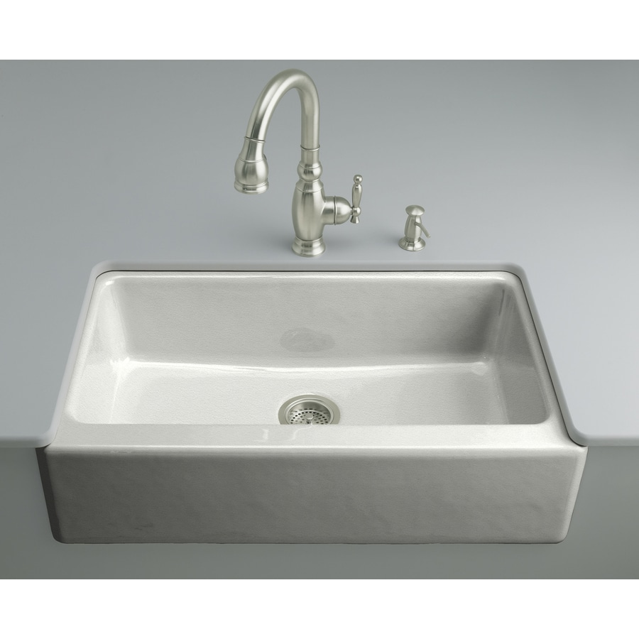 KOHLER Dickinson 22.12-in x 33-in Sea Salt Single-Basin Cast Iron Apron Front/Farmhouse 4-Hole Residential Kitchen Sink